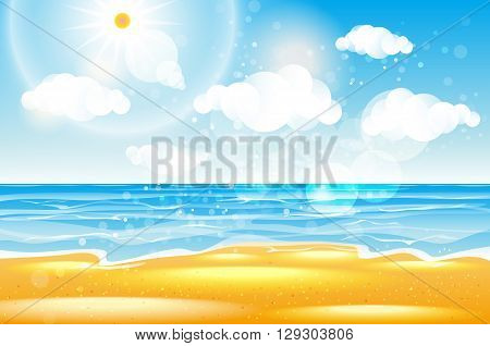 poster of Sea of karon beach Thailand. Sea beach with waves blue sky and white sand. Beautiful sea wave. Empty sea beach. Sea waves. Colorful sea. Sea waves near beach. Beautiful sea beach. Sea beach. Warm sea vector art