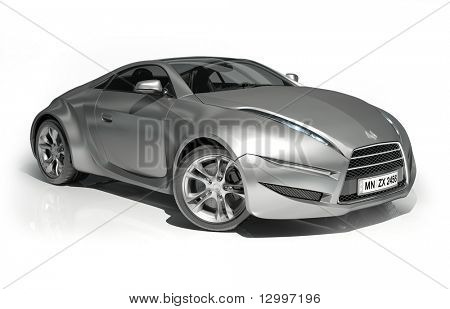 Silver Sports Car Isolated On White Background. My Own Car Design. Logo On  The