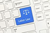 White Conceptual Keyboard - Labor Law (blue Key) poster