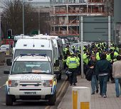 Riot Police in Luton, UK for EDL (English Defence League) march