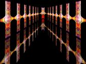 Abstract Colorful Futuristic Corridor With Simulated Floor Reflection For Product Frame Or Emphasis