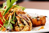 pic of pork chop  - Grilled pork steak with vegetable garnish - JPG