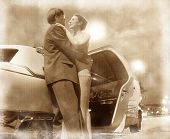 couple and car. vintage