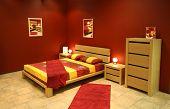 red modern bedroom