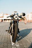 Постер, плакат: Silver Vintage Custom Motorcycle Caferacer