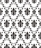 Seamless Damask Royal Vector Texture With Fleur-de-lis