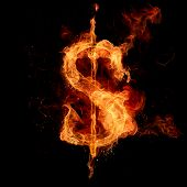 Fire dollar sign. 