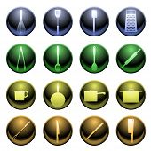 foto of dutch oven  - Set of sixteen glossy cooking utensil icons - JPG
