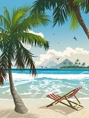 Playa de Hawaii. Ilustración del vector de la playa tropical.