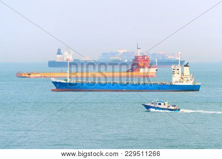 Many Industrial Cargo Ships In