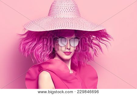 poster of Fashion Portrait Girl With Pink Hair In Hat, Trendy Sunglasses. Young Woman In Stylish Outfit. Glamo