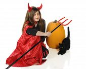 stock photo of she devil  - A pretty tween girl dressed as a devil with a pumpkin and Halloween cat - JPG