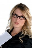 Portrait Of A Beautiful Blond Model With Eyeglasses