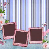 Постер, плакат: Красивый альбом страницы в стиле записки с бумагой рамки для фото Бабочка Роуз 1 комплект