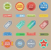 Super Extra Bonus Vector Labels Banners Text Color Business Shopping Concept. Internet Promotion Sho poster