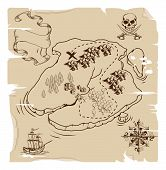 picture of treasure map  - Illustration of an old fashioned pirate island treasure map - JPG