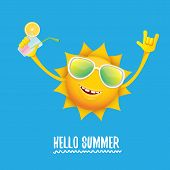 Hello Summer Rock N Roll Vector Label Or Logo. Summer Cocktail Party Poster Background With Funky Sm poster