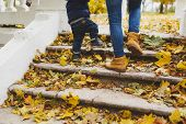 Close Up Legs Of Woman Walk In Fall Park With Little Child Boy, Climb Up Stairs With Dry Yellow Autu poster