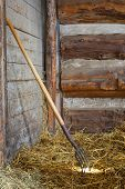Pitch Fork In Hay In Horse Stall