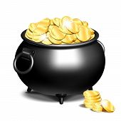 Black Iron Cauldron Full Of Gold Coins Isolated On White Background. Stack Of Gold Coins Near The Bl poster