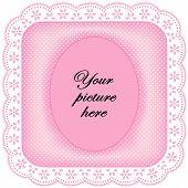 White Eyelet Lace Frame, Pastel Pink