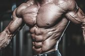 Handsome Model Muscle Man Abs Workout In Gym poster