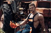 Man, Builder Or Bodybuilder With Strict Face And Hard Had. Tired Worker Concept. Sexy Man With Nude  poster