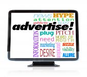 A high definition television with the word advertise and many other words associated with advertisin
