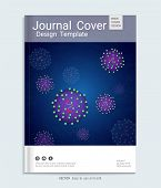 Medical, Scientific, Academic Journal Cover Design, Realistic Virus Vector On Purple Luminescence Ba poster