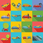 Accident Car Crash Case Icons Set. Flat Illustration Of 16 Accident Car Crash Case Vector Icons For  poster
