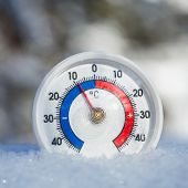Thermometer with celsius scale placed in a fresh snow showing sub-zero temperature minus 9 degree -  poster