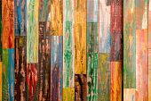 Colourful Vertical Wood Paneling With Red, Green, Yellow, And Blue Paint. Wood Paneling Background T poster