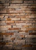 Texture Of Facade Stone. Wall With Exterior Masonry. poster