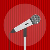 Microphone, Realistic Microphone On A Red Background. Microphone Icon. poster