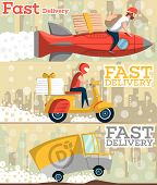 Fast Food And Pizza Delivery Horizontal Banners With Cityscape On Background. Food Truck, Couriers W poster