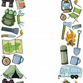 Seamless Vertical Borders Of Travel Equipment. Accessories For Camping And Camps. Colorful Sketch Ca poster