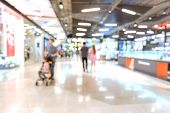 Blurred Of People Are Walking In Shopping Mall Or Department Store With Bokeh Background. Blurry Bac poster