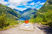 Queen Sonja Of Norway Throne At Flydalsjuvet Viewpoint At Geirangerfjord Near Geiranger Village In N poster
