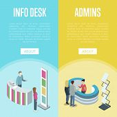 Administration And Information Desk Isometric Vertical Flyers. Company Exhibition Ad Stand, Hotel Or poster