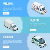 City Transport Isometric Horizontal Flyers With Ambulance Car, Compact City Car And Freight Truck. M poster