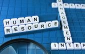 stock photo of human resource management  - Human resources concept and key words on the game board - JPG