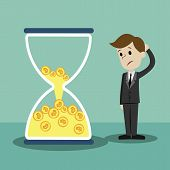 Time Is Money. Money In Sandglass. Businessman Lose His Money Losing Time. poster