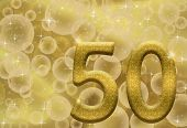 pic of 50th  - The number fifty 50 in gold with golden bubble background 50th anniversary - JPG