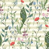 Herbs And Wild Flowers Vector Seamless Pattern Of Botany Texture Bdckground Illustrations Vintage Fl poster