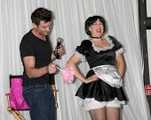 LOS ANGELES - AUG 27: Daniel Goddard with Singing Telegram Actress getting Birthday Greetings at the Daniel Goddard Fan Event 2011 at the Universal Sheraton Hotel on August 27, 2011 in Los Angeles, CA
