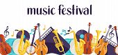 Jazz Music Festival Banner With Musical Instruments. poster