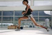 Fitness Woman Working Out With Medicine Ball poster