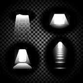 Bright Open Door Concept Set Isolated On Transparent Background. Light Entering Dark Room Through Op poster