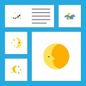 Icon Flat Midnight Set Of Moon, Nighttime, Midnight And Other  Objects. Also Includes Moon, Star, Ni poster