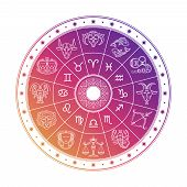 Colorful Astrology Circle Design With Horoscope Signs Isolated On White Background. Vector Zodiac Ho poster